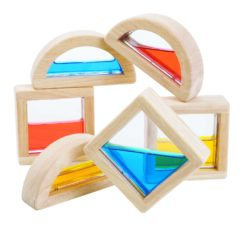 Plan Toys Sensory Coloured Water Blocks (6 Fluid Bricks)