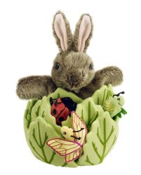 The Puppet Company Rabbit in a Lettuce with 3 Mini Beasts - Hide Away Hand Puppet with Finger Puppet