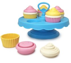 Green Toys Cupcakes Set with Cake Display (Play Food)
