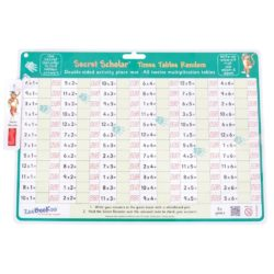 ZooBooKoo Times Tables (Random) - Wipe Clean Mat with Secret Decoder