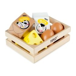 Tidlo Wooden Eggs and Dairy Food Crate (Play Food)