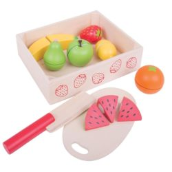 Bigjigs Toys Wooden Cutting Crate of Fruit with Chopping Board and Knife (Play Food)