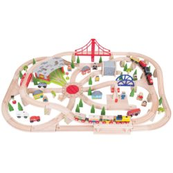 Bigjigs Rail Wooden Freight Train Set with Storage Box (130 Pieces)
