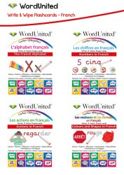 Write & Wipe French Pack - Alphabet, Numbers, Colours & Shapes, and Actions (4 Flashcard Kits)