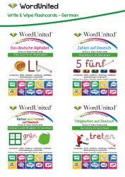 Write & Wipe German Pack - Alphabet, Numbers, Colours & Shapes, and Actions (4 Flashcard Kits)