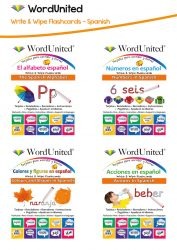 Write & Wipe Spanish Pack - Alphabet, Numbers, Colours & Shapes, and Actions (4 Flashcard Kits)