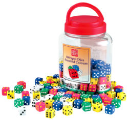 EDU-QI Dot Dice in Assorted Colours (100 Pieces in a Jar)