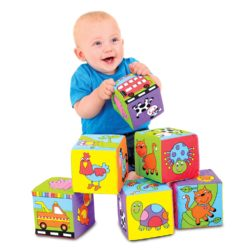 Galt Toys Baby Soft Stacking Blocks (Foam Filled Fabric Cube Bricks - 6 Pieces)