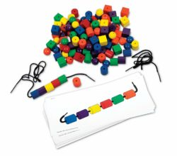 Learning Resources Sequencing Beads & Pattern Cards - Lacing & Threading Set (108 Beads 20 Cards