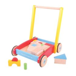 Bigjigs Classic Baby Walker with Blocks ( Push Along Walker + 37 Bricks)