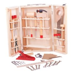 Bigjigs Toys Junior Toolbox with Tools - Hammer, Saws, Spanners, Screwdrivers & Tool Box
