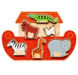 Lanka Kade Fair Trade Wooden Noah's Ark Shape Sorter Puzzle (Early Numeracy Eco Toy)