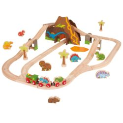 Bigjigs Dinosaur Railway Train Set (Wooden Eco Toy)